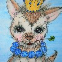 Ziege mit Glücksklee und Krone handgemalt Minibild 68 x 100 mm Aquarell laminiert Karte Lesezeichen   Bild 1