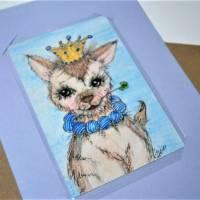 Ziege mit Glücksklee und Krone handgemalt Minibild 68 x 100 mm Aquarell laminiert Karte Lesezeichen   Bild 3