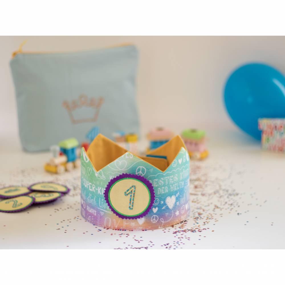 Geburtstagskrone mit wechselbaren Zahlen, bunt Superkind, mit Tasche Bild 1