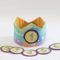 Geburtstagskrone mit wechselbaren Zahlen, bunt Superkind, mit Tasche Bild 2