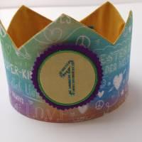 Geburtstagskrone mit wechselbaren Zahlen, bunt Superkind, mit Tasche Bild 3