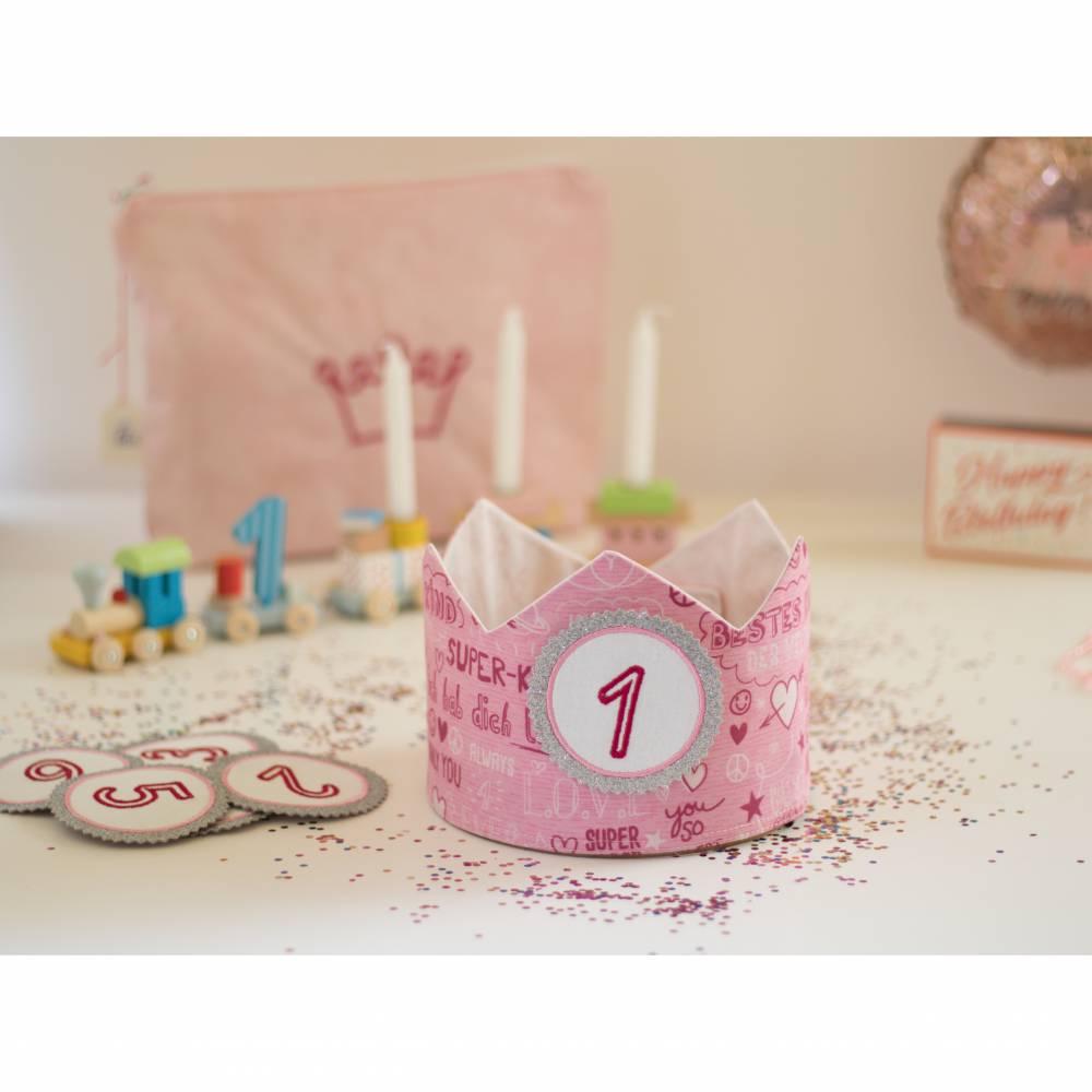 Geburtstagskrone mit wechselbaren Zahlen, rosa Superkind, mit Tasche Bild 1