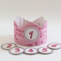 Geburtstagskrone mit wechselbaren Zahlen 1-6 Jahre und Aufbewahrungstasche, Stoffkrone Geburtstag Mädchen oder Jungen Bild 2