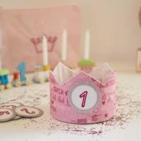 Geburtstagskrone mit wechselbaren Zahlen 1-6 Jahre und Aufbewahrungstasche, Stoffkrone Geburtstag Mädchen oder Jungen Bild 3