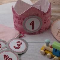 Geburtstagskrone mit wechselbaren Zahlen 1-6 Jahre und Aufbewahrungstasche, Stoffkrone Geburtstag Mädchen oder Jungen Bild 6