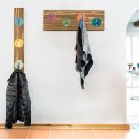 Handarbeit | Garderobe aus Bambus massiv | Klapphaken Edelstahlfinish | 82 cm, verdeckte Aufhängung. Bild 2