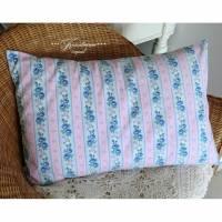 Vintage * Kissenbezug * Rosenkissen * alter Bauernstoff * Dekokissen * rosa / hellblau * shabby  Bild 1