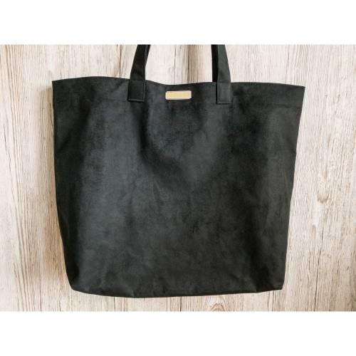 Veloursleder Shopper schwarz groß