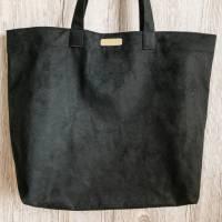 Veloursleder Shopper schwarz groß Bild 1