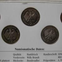 Die erste deutsche Münze zu Ehren von Willy Brand - 5 Münzen Bankfrisch Bild 2