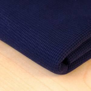 Weicher Waffelstrick Jersey Navy Blau aus 100%  Baumwollstoff, Baumwolljersey Uni Bild 1