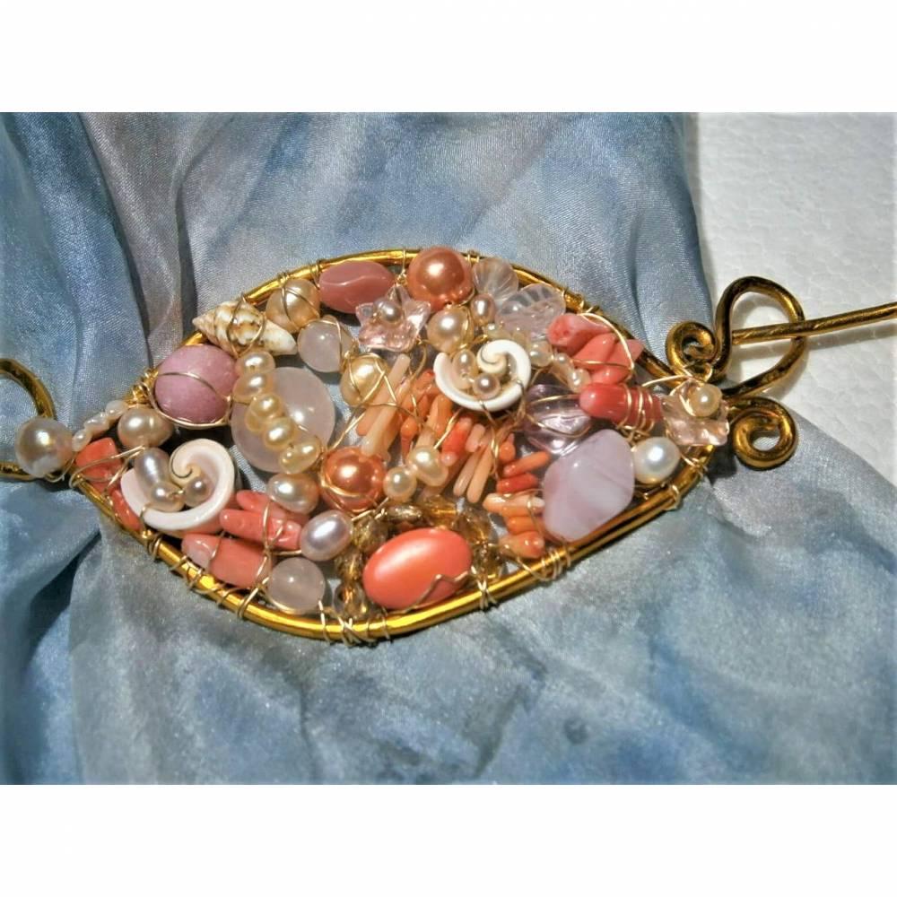 Tuchnadel rosa Perlen Koralle pastell und Rosenquarz 110 x 45 Millimeter Brautschmuck Aluminium goldfarben Geschenk  Bild 1