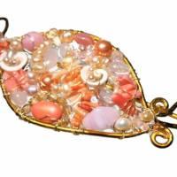 Tuchnadel rosa Perlen Koralle pastell und Rosenquarz 110 x 45 Millimeter Brautschmuck Aluminium goldfarben Geschenk  Bild 4