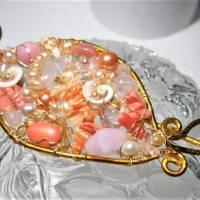 Tuchnadel rosa Perlen Koralle pastell und Rosenquarz 110 x 45 Millimeter Brautschmuck Aluminium goldfarben Geschenk  Bild 5
