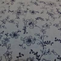 Baumwolle, Baumwollstoff  Chambray  Blumen denim  (1m /10,00€) Bild 1