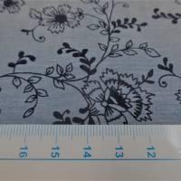 Baumwolle, Baumwollstoff  Chambray  Blumen denim  (1m /10,00€) Bild 2