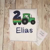 """Geburtstagsshirt """" Traktor""""  personalisiert mit Name & Wunschzahl (langarm) Bild 1"""