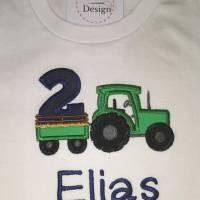 """Geburtstagsshirt """" Traktor""""  personalisiert mit Name & Wunschzahl (langarm) Bild 2"""