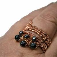 Ring handgewebt mit Keshi Perlen und Hämatit grau metallic in Kupfer wirework Daumenring Bild 4