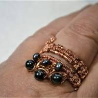 Ring handgewebt mit Keshi Perlen und Hämatit grau metallic in Kupfer wirework Daumenring Bild 7
