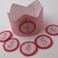 Geburtstagskrone mit wechselbaren Zahlen, rosa mit Herzen, mit Tasche Bild 1