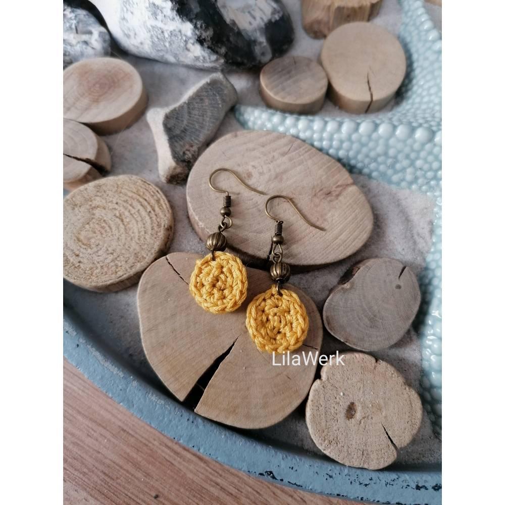 Ohrringe Ohrhänger mit filigraner Perle in bronze antikgold Ornament Bild 1