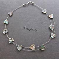 Perlmuttkette Abalone Paua Muschel Kette zweireihig Perlmutt Herz Regenbogenfarben Bild 8