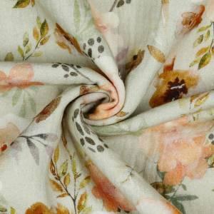 Bio Musselin Double Gauze Digital WATERCOLOUR FLOWERS, sand Bild 3