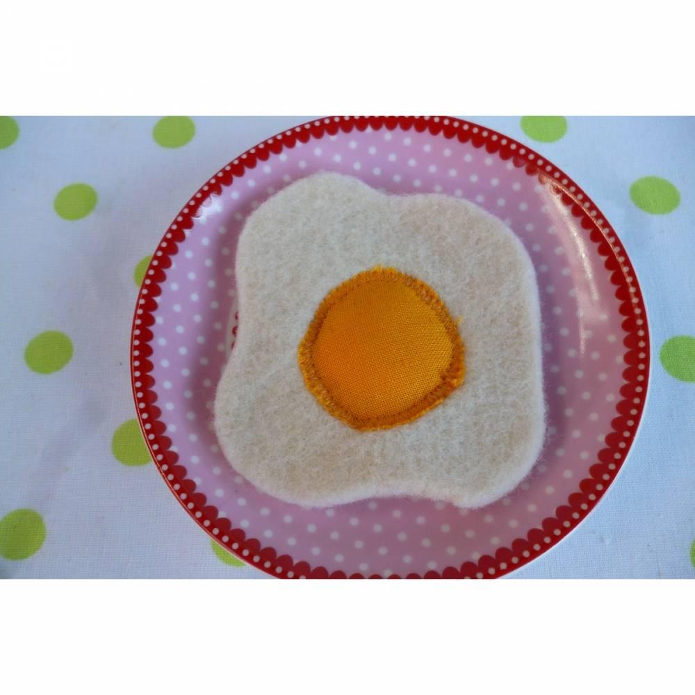 Spiegelei aus Filz für die Kinderküche, Kaufladenzubehör, Spielküche, Kaufmannsladen, Spielküche, Eier, backen Bild 1