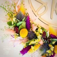 Personalisierter Türkranz / Flowerhoop mit Familiennamen, verschiedene Farbkombinationen, Eukalyptus, Trockenblumen Bild 5