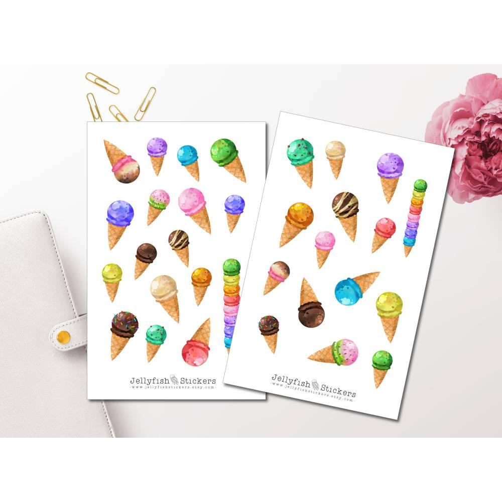 Eiscreme Sticker Set | Essen Aufkleber | Journal Sticker | Sticker Sommer | Planer Sticker bullet journal sticker, Stick Bild 1