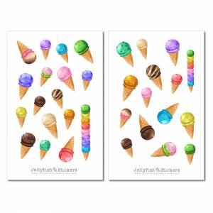 Eiscreme Sticker Set | Essen Aufkleber | Journal Sticker | Sticker Sommer | Planer Sticker bullet journal sticker, Stick Bild 2