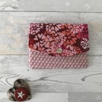 Geldbörse Rosa Geldtasche Geldbeutel Minibörse Baumwolle Flower Power Bild 1