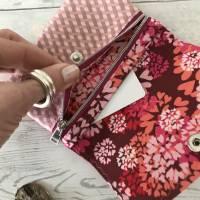 Geldbörse Rosa Geldtasche Geldbeutel Minibörse Baumwolle Flower Power Bild 6