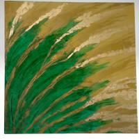 """Farbenfrohes Gemälde in den Farben Smaragdgrün und Gold, mit Goldblatt veredelt ,""""FLOREAL GOLD"""". Bild 1"""