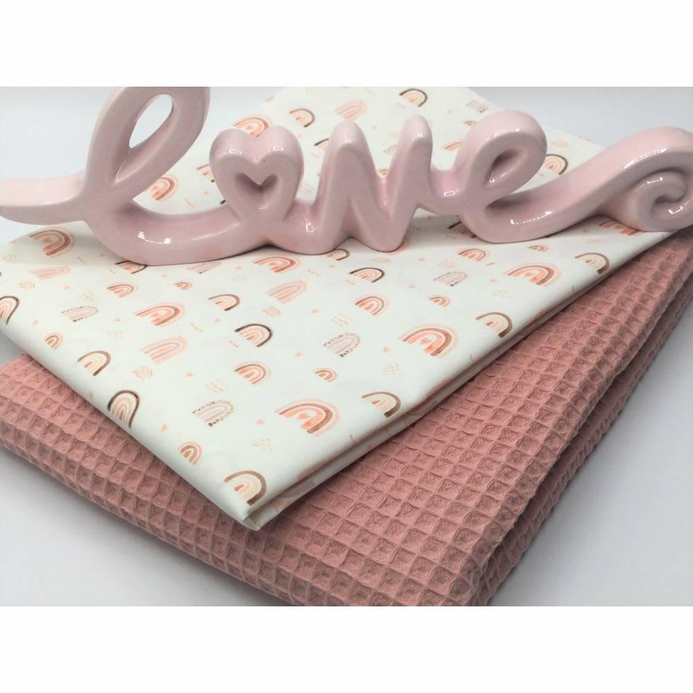 Stoffpaket Waffelpique & Baumwolle, Rainbows, natur-blush / Bettschlange Nestchen Wickelunterlage Kissen nähen Bild 1