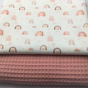 Stoffpaket Waffelpique & Baumwolle, Rainbows, natur-blush / Bettschlange Nestchen Wickelunterlage Kissen nähen Bild 2