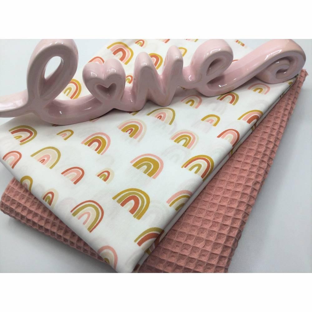 Stoffpaket Waffelpique & Baumwolle, Rainbows, blush / Bettschlange Nestchen Wickelunterlage Kissen nähen Bild 1