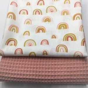 Stoffpaket Waffelpique & Baumwolle, Rainbows, blush / Bettschlange Nestchen Wickelunterlage Kissen nähen Bild 2