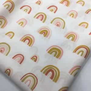 Stoffpaket Waffelpique & Baumwolle, Rainbows, blush / Bettschlange Nestchen Wickelunterlage Kissen nähen Bild 3
