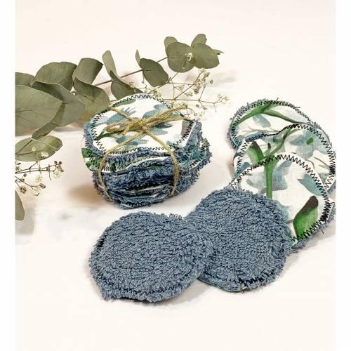 umweltfreundliche Wattepads in Blau, nachhaltige Abschminkpads waschbar, Kosmetikpads aus Baumwolle, Reinigungspads