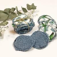 umweltfreundliche Wattepads in Blau, nachhaltige Abschminkpads waschbar, Kosmetikpads aus Baumwolle, Reinigungspads  Bild 1