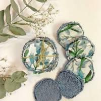 umweltfreundliche Wattepads in Blau, nachhaltige Abschminkpads waschbar, Kosmetikpads aus Baumwolle, Reinigungspads  Bild 2