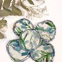umweltfreundliche Wattepads in Blau, nachhaltige Abschminkpads waschbar, Kosmetikpads aus Baumwolle, Reinigungspads  Bild 3