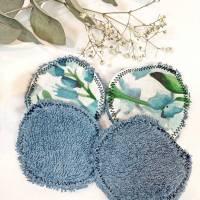 umweltfreundliche Wattepads in Blau, nachhaltige Abschminkpads waschbar, Kosmetikpads aus Baumwolle, Reinigungspads  Bild 5