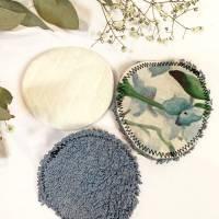umweltfreundliche Wattepads in Blau, nachhaltige Abschminkpads waschbar, Kosmetikpads aus Baumwolle, Reinigungspads  Bild 7