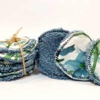 umweltfreundliche Wattepads in Blau, nachhaltige Abschminkpads waschbar, Kosmetikpads aus Baumwolle, Reinigungspads  Bild 8