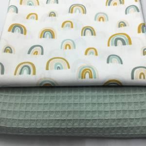 Stoffpaket Waffelpique & Baumwolle, Rainbows, dusty mint / Bettschlange Nestchen Wickelunterlage Kissen nähen Bild 1