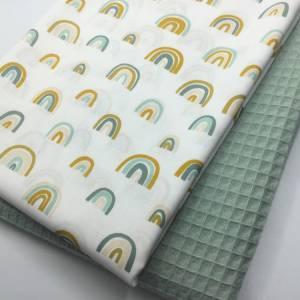 Stoffpaket Waffelpique & Baumwolle, Rainbows, dusty mint / Bettschlange Nestchen Wickelunterlage Kissen nähen Bild 2