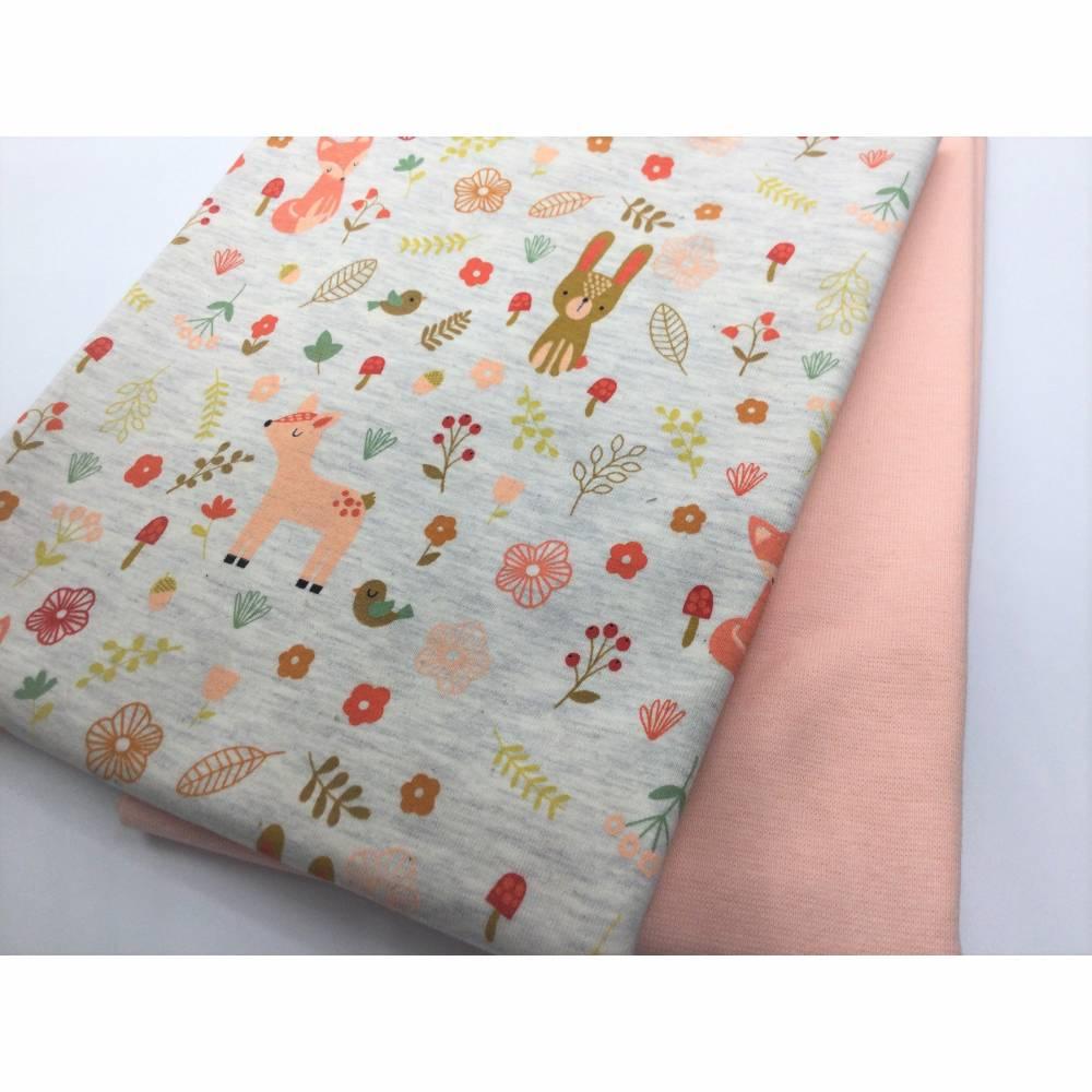 Mini-Stoffpaket FOREST FRIENDS  ecru melange / 0,5 m Jersey & Bündchen Bild 1